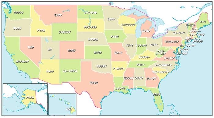 アメリカ50州地図